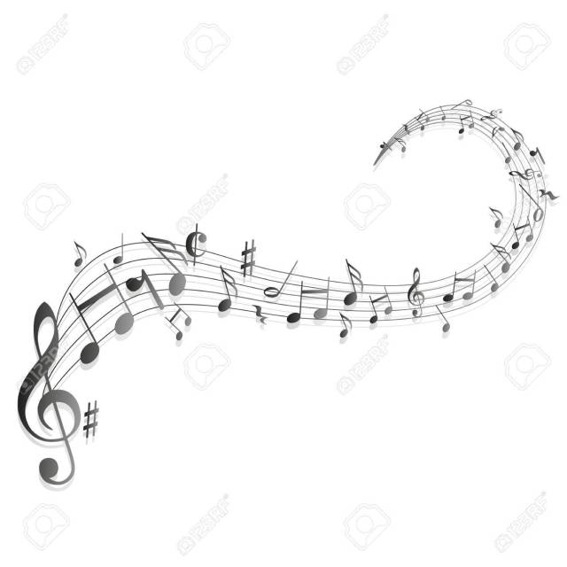 58431051-a-moving-illustration-with-the-silhouettes-of-musical-notes-Stock-Photo