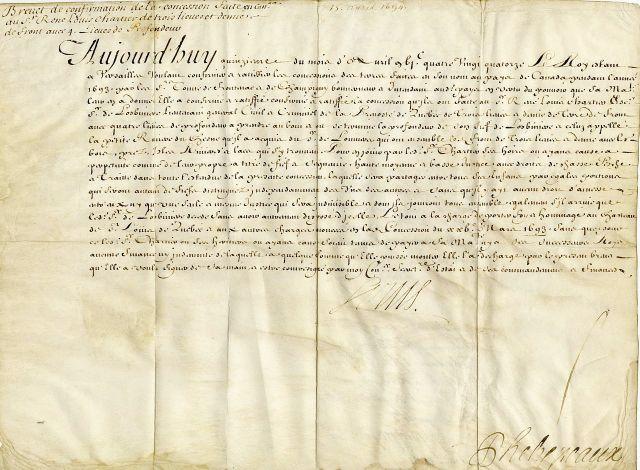 Brevet_de_confirmation_d_une_concession_en_Canada_par_le_Roi_a_Rene-Louis_Chartier_de_Lotbiniere,_15_avril_1694