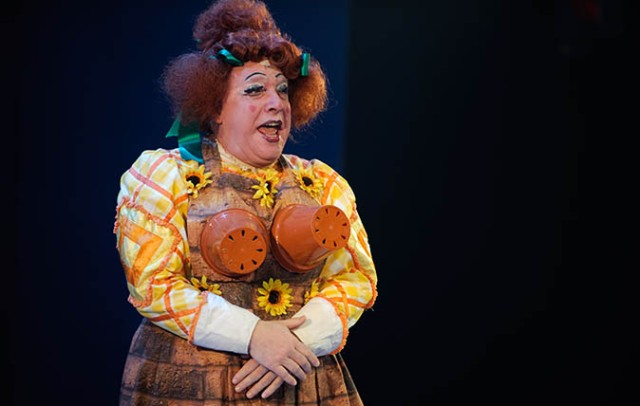 Traditional pantomime dame (man dressed as a woman) in a production of Jac and the Beanstalk, Aberystwyth Arts Centre, Wales UK